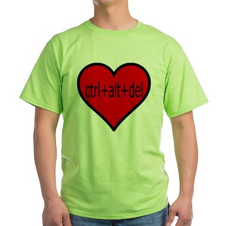 CTRL+ALT+DEL Heart Green T-Shirt