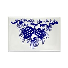 Blue Pinecones Rectangle Magnet (100 pack)