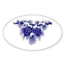 Blue Pinecones Oval Decal
