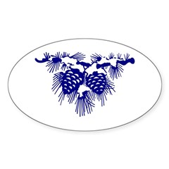 Blue Pinecones Oval Sticker (10 pk)