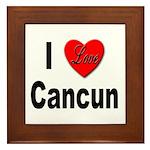I Love Cancun Framed Tile