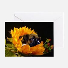 Boxer Puppy in Sunflower Greeting Card