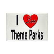 I Love Theme Parks Rectangle Magnet