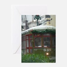 Snow on Streetcar Greeting Card