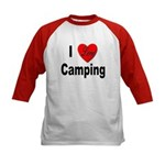 I Love Camping (Front) Kids Baseball Jersey