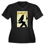 Caudieux Women's Plus Size V-Neck Dark T-Shirt
