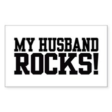 My Husband Rocks Rectangle Decal