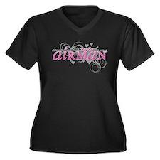 XOXO:Airman Women's Plus Size V-Neck Dark T-Shirt