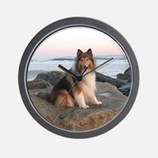 Collie on the Rocks Wall Clock