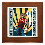 Barack Obama Slam Dunk Framed Tile