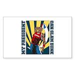 Barack Obama Slam Dunk Rectangle Sticker