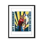 Barack Obama Slam Dunk Framed Panel Print
