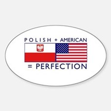 Polish American flags Oval Decal