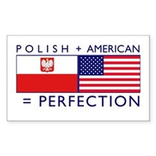 Polish American flags Rectangle Decal