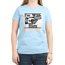 I'm With Him Left Women's Pink T-Shirt