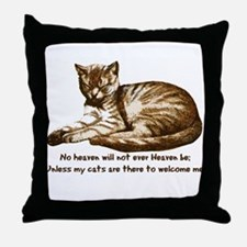 No Heaven Without Cats Throw Pillow