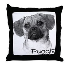 Perfect Puggle Portrait Throw Pillow