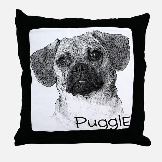 Perfect Puggle Portrait Throw Pillow