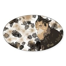 Calico Cat Lover Design Oval Decal