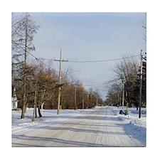 Rural Winter Scene Tile Coaster