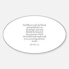 EXODUS 24:8 Oval Decal