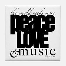 Cute Peace love music Tile Coaster