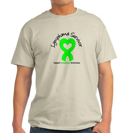 LymphomaSurvivorHeart Light T-Shirt