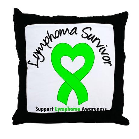 LymphomaSurvivorHeart Throw Pillow