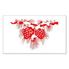 Red Pinecones Rectangle Sticker 50 pk)