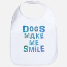 Dogs Make Me Smile T-Shirt Design Baby Bib