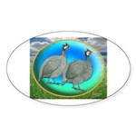 Guineas On Opal Oval Sticker