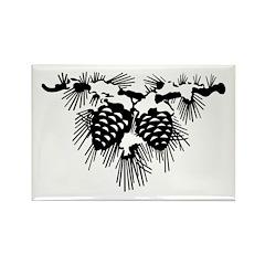 Black Pinecones Rectangle Magnet