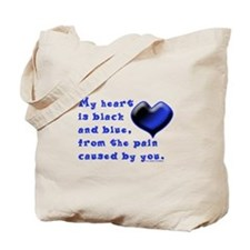 Black and Blue Heart Tote Bag