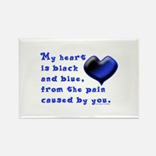 Black and Blue Heart Rectangle Magnet