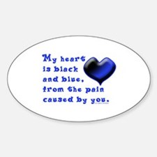 Black and Blue Heart Oval Decal