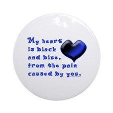 Black and Blue Heart Ornament (Round)
