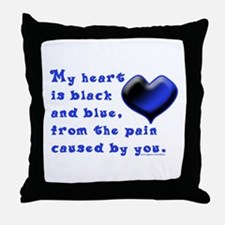 Black and Blue Heart Throw Pillow