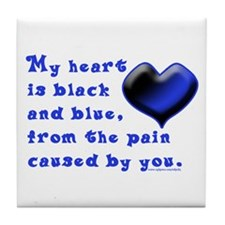 Black and Blue Heart Tile Coaster