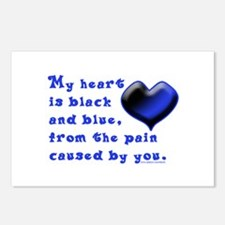 Black and Blue Heart Postcards (Package of 8)