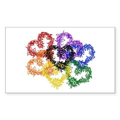 Rainbow Woven Hearts Rectangle Sticker 10 pk)
