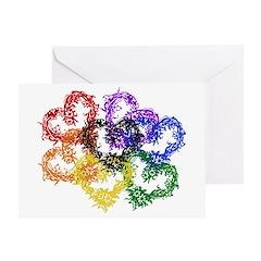 Rainbow Woven Hearts Greeting Card