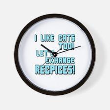 I Like Cats Too Recipes Wall Clock
