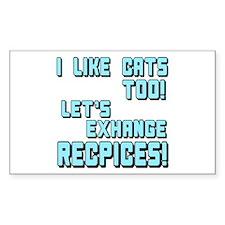 I Like Cats Too Recipes Rectangle Decal