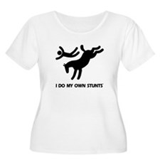 Horse I Do My Own Stunts Women's Plus Size T-Shirt