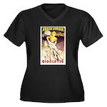 Gigolette Women's Plus Size V-Neck Dark T-Shirt