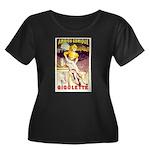 Gigolette Women's Plus Size Scoop Neck Dark T-Shir