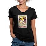 Gigolette Women's V-Neck Dark T-Shirt