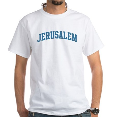 Jerusalem (blue) White T-Shirt