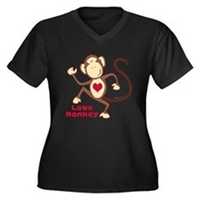 Love Monkey Heart Women's Plus Size V-Neck Dark T-