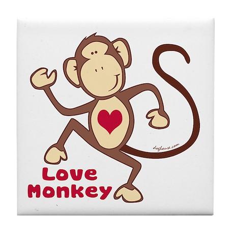 Love Monkey Heart Tile Coaster